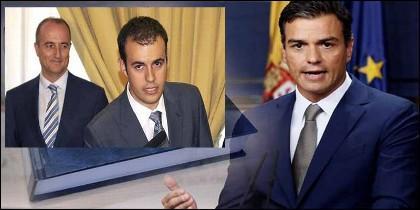 Miguel Sebastián, Carlos Ocaña y Pedro Sánchez (PSOE).