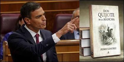 Pedro Sánchez  (PSOE) y uno de los memes sobre su tesis que circulan por la red.