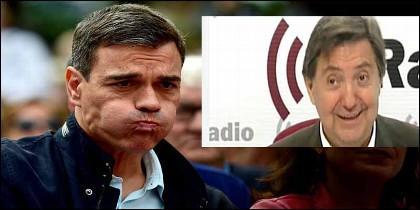 Pedro Sánchez (PSOE) y Federico Jiménez Losantos (EsRadio).