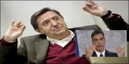 El periodista Federico Jiménez Losantos y Pedro Sánchez (PSOE).
