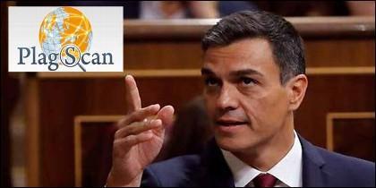 El programa antiplagio 'PlagScam' y Pedro Sánchez (PSOE).