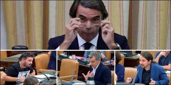 El expresidente Aznar (PP), en su rifirrafe con Rufián (ERC), Cantó (Cs) e Iglesias (PODEMOS).