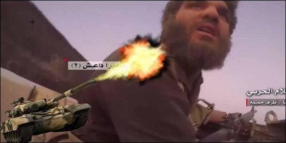 Un terrorista islámico grita de miedo, atacado por un tanque sirio.