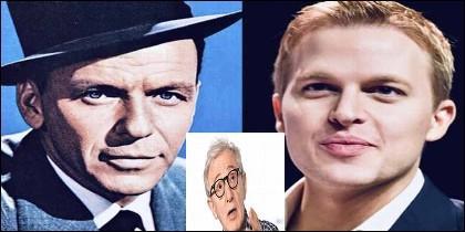 Woody Allen entre Ronan Farrow y Frank Sinatra.