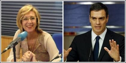 Rosa Díez y Pedro Sánchez.