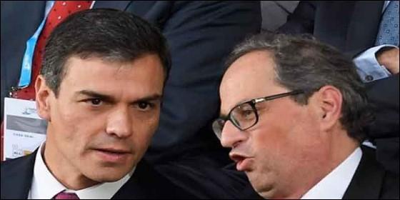 El presidente autonómico catalán, Quim Torra, y el presidente del Gobierno español, Pedro Sánchez.