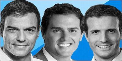 Pedro Sánchez (PSOE), Albert Rivera (CIUDADANOS) y Pablo Casado (PP).