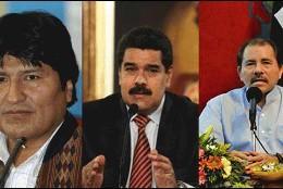 Evo Morales (Bolívia), Nicolas Maduro (Venezuela) y Daniel Ortega (Nicaragua)