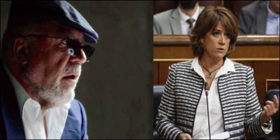 El excomisario Villarejo y la ministra de Justicia, Dolores Delgado.