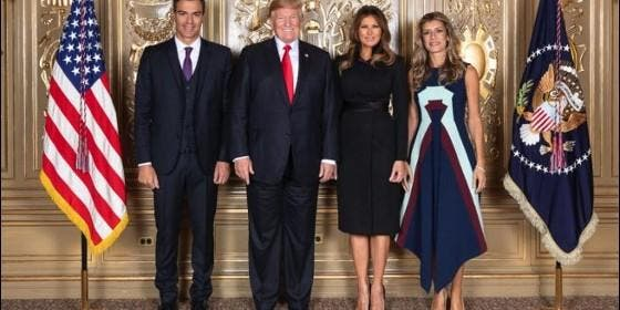 Pedro Sánchez, Donald Trump, Melania Trump y Begoña Gómez en Nueva York