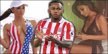 El delaytero del Stoke City, Saido Berahino, y dos de sus 'novias'.
