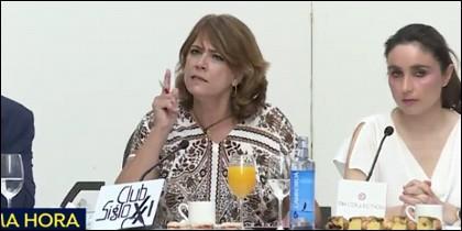 Dolores Delgado muy enfadada.