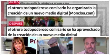 El antes y el después del titular rectificado por Público, su directora, Pardo de Vera, Villarejo y Joaquín Vidal, director de Moncloa.com