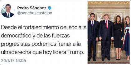 Pedro Sánchez, su tuit contra Trump y la foto con el presidente norteamericano.