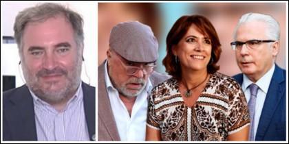 Joaquín Vidal y el trío de la 'concordia' Villarejo, Delgado y Garzón.