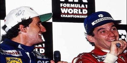 Alain Prost y Ayrton Senna en el gran premio de Australia, 1993