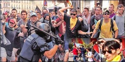 CDR: fanáticos independentistas se enfrentan con los Mossos y agreden a agentes de la Guardia Civil.