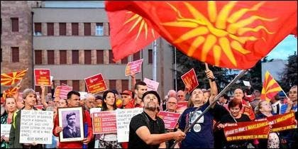 Manifestaciones en Skopje contra el cambio de nombre de Macedonia.