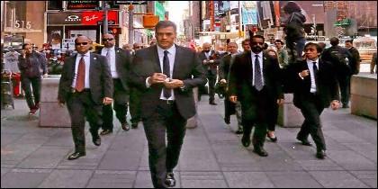 La foto Pedro Sánchez posando en 'Times Square' en Nueva York.