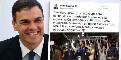 El tuit de Pedro Sánchez, mientras los matones independentistas de los CDR intentan asaltar el Parlament de Cataluña.