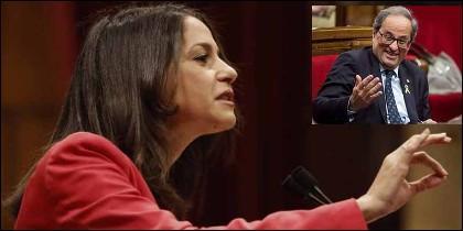 Inés Arrimadas (Cs) y el independentista Quim Torra.