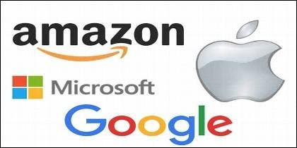 Los logos de Apple, Google, Amazon y Microsoft.