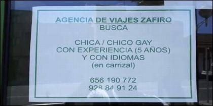 La oferta de trabajo de Agencia de Viajes Zafiro.