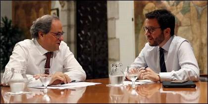El presidente de la Generalitat, Quim Torra (JxCAT), y su vicepresidente, Pere Aragonès (ERC).