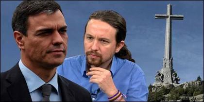 Pedro Sánchez, Pablo Iglesias, Franco y la Cruz del Valle de los Caídos.