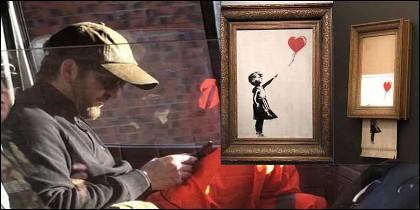 El misterioso Bansky y el cuadro  'Niña con globo', como era y como quedó.