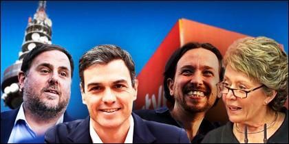 Oriol Junqueras (ERC), Pedro Sánchez (PSOE), Pablo Iglesias (PODEMOS) y Rosa María Mateo.