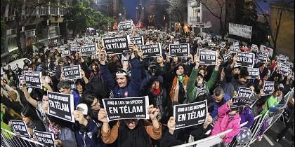 Protestas por los despidos en TÉLAM
