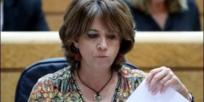 La ministra de Justicia, Dolores Delgado, durante la sesión de control al Gobierno en el Pleno del Senado