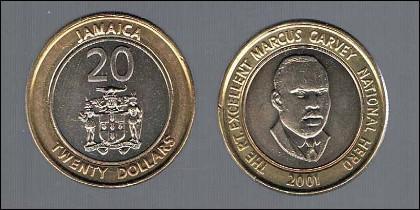 Los 20 Dólares Jamaicanos, parece la moneda de 1€ pero su valor real equivale a 15 céntimos.