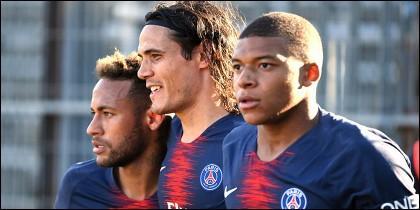 Neymar (izquierda), Edinson Cavani (centro) y Kylian Mbappé