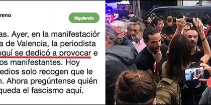 El tuitero que ataca a Cristina Seguí y la reportera en medio del tumulto.