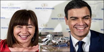 PSOE: Francina Armengol con Pedro Sánchez y las inundaciones en Mallorca.
