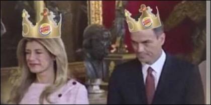 Uno de los memes de Pedro Sánchez y Begoña tras su intento de 'suplantar' a los Reyes de España en el Palacio Real.