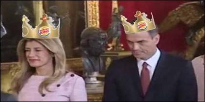 Uno de los memes que circulan por Internet sobre Pedro Sánchez y Begoña Gómez en la recepción del 12 de Octubre de 2018.