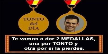 Un meme sobre Pedro Sanchez que circula por Internet, tras su pifia del 12 de Octubre de 2018.