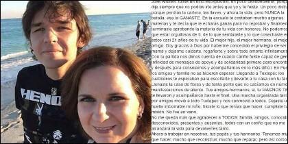 José Andrés Larrañaga y su madre Lorena Canalizo, autora de la carta en Facebook.
