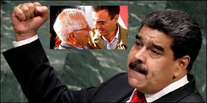 El tirano Nicolás Maduro con sus 'amigos' Josep Borrell y Pedro Sánchez.