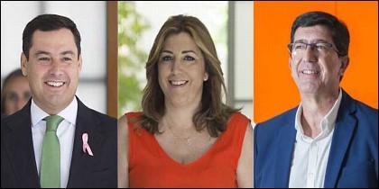 Juanma Moreno (PP), Susana Díaz (PSOE) y Juan Marín (CIUDADANOS).