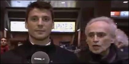 José Carreras grita en catalán al pasar tras el reportero de Gol TV.