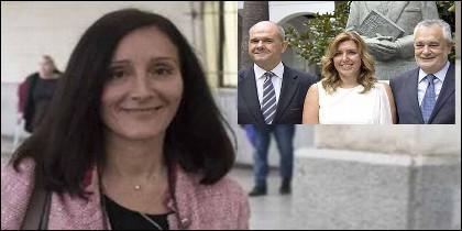 La juez Pilar Ordóñez y Susana Díaz, entre Manuel Chaves y José Antonio Griñán.
