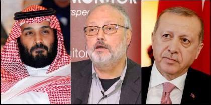 El Principe saudí Mohammed bin Salman, el periodista Jamal Khashoggi, y el prewsidente turco Recep Tayyip Erdogan.