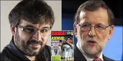 Jordi Evole, el Marca y Mariano Rajoy.