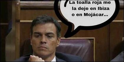 Un meme sobre la 'toalla' que lleva encima el socialista Pedro Sánchez.