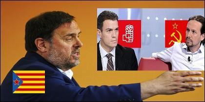 Oriol Junqueras (ERC), Pedro Sánchez (PSOE) y Pablo Iglesias (PODEMOS).