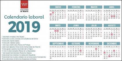 Calendario laboral 2019 en la Comunidad de Madrid.